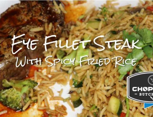 Eye Fillet Steak With Spicy Fried Rice and Hot Dipping Sauce